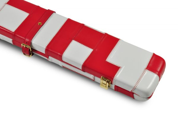 Peradon White and Red Patch Leather Case-CLOSE-UP