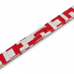 Peradon White and Red Patch Leather Case