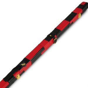 Peradon Thin Leather Cue Case-Black Red Patch
