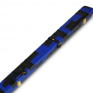 Peradon Wide Leather Cue Case Black Blue Patch