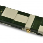 Peradon Green and Cream Patch Leather Case-CLOSE-UP